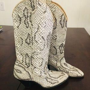 Vintage Natural Python Leather Boots